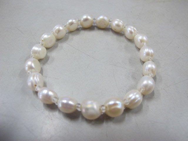 二手舖~ NO.59 天然珍珠手鍊 母親節 項鍊戒指吊墜子首飾手環耳環 (珍珠大小約7-8mm)
