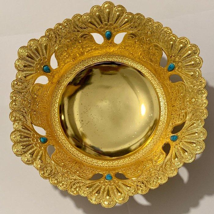 杜拜帶回 中東皇室風格 土豪金鑲孔雀綠金蟾三足聚寶盆