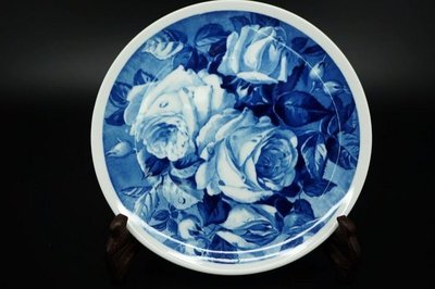 香集世界--德國名瓷麥森Meissen 藍釉青花玫瑰瓷盤  詢價請留言
