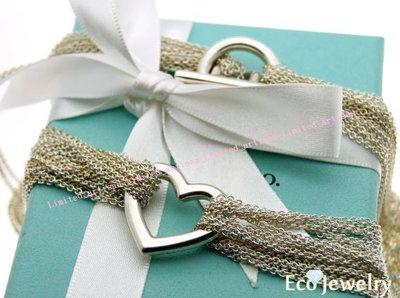 《Eco-jewelry》【Tiffany&Co】稀有款 T扣open heart愛心多鍊純銀925項鍊~專櫃真品已送洗