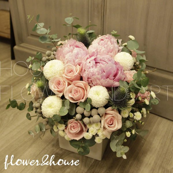 B27。季節限定。粉色牡丹盆花。祝賀開幕生日喬遷。台北花店。【Flower&House花藝之家】