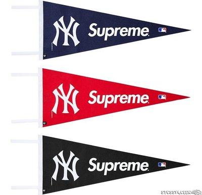 【超搶手】全新正品2015 SS聯名Supreme Yankees Pennant NY 紐約洋基 裝飾旗幟 黑 紅 藍