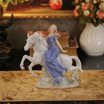 INPHIC-少女騎馬款手繪陶瓷鎏金婚房擺飾裝飾品