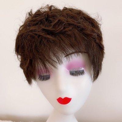 整頂假髮真髮絲短假髮-蓬鬆捲髮逼真熟齡女假髮2色73vr28[獨家進口][米蘭精品]
