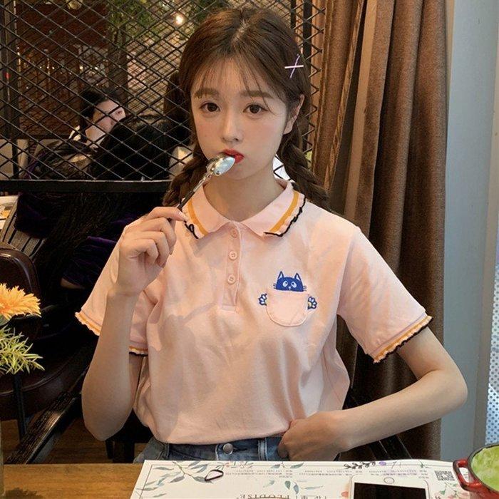 小香風 短袖T恤 時尚穿搭 ins超火上衣女裝 韓版 小清新可愛貓咪刺繡寬松短袖T恤學生