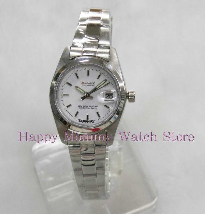 【 幸福媽咪 】網路購物、門市服務 OMAX 歐瑪士《藍寶石防刮鏡面》防水日期石英女錶 白面 4002