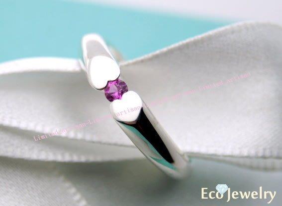 《Eco-jewelry》【Tiffany&Co】心心相對壓力鑲粉紅寶石純銀925戒指~專櫃真品已送洗