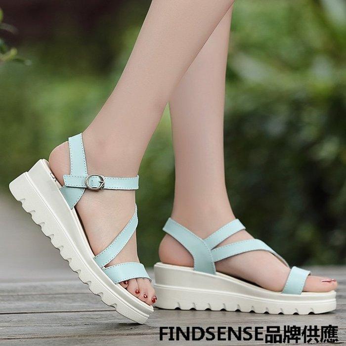 FINDSENSE品牌 新款 日本 女 高品質 真皮 簡約 清新純色 厚底增高 舒適 時尚涼鞋 休閒鞋 潮流鞋子