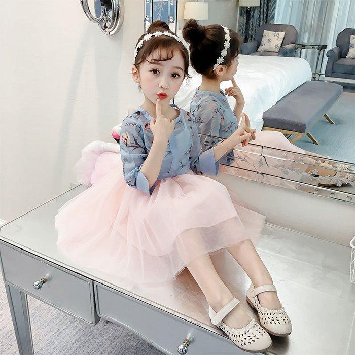 表演服 洋裝 禮服 公主裙 女童 連身裙春裝兩件套公主裙兒童長袖套裝裙女孩洋氣裙子