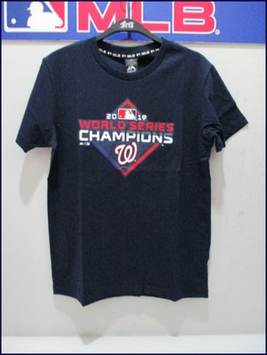 2019 MLB majestic 美國職棒 國民隊 世界大賽冠軍T恤 短袖 深藍 6960299-580