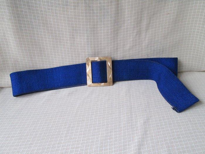 VINTAGE 老台灣 古董配件 古著 半月雕刻紋方型鋁框腰帶頭 寶藍彈性布腰帶 G411