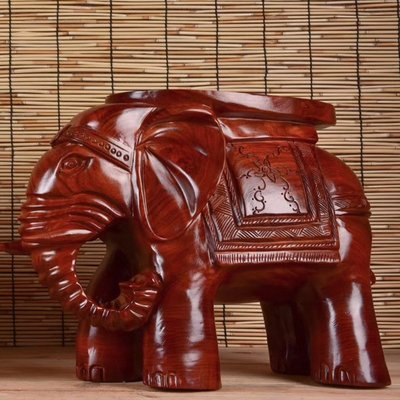 草花梨木富貴吉祥象凳雕刻家居擺飾擺件客廳玄光書房裝飾送禮直銷