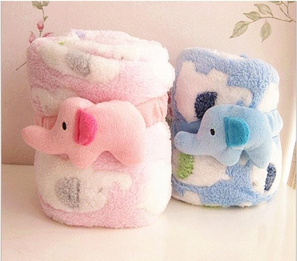 bobo愛漂亮 現貨供應中 可愛大象珊瑚絨捲毯 空調毯 午睡毯 抱枕涼被 小毛毯 兒童毯 嬰兒毯 手推車毯