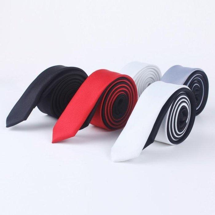 學院風男時尚韓版英倫窄版休閒細黑色小領帶禮盒裝3cm