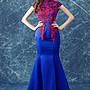 新年婚禮禮服婚紗禮服宴會禮服藍色中式晚宴年會演出主持人魚尾婚紗禮服旗袍批發t