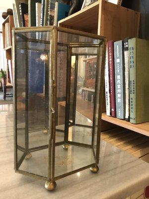 迷你銅製玻璃珠寶六角展示櫃