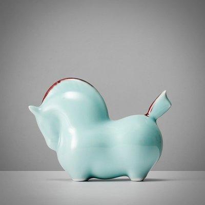 歐斯特館~紅鬃 新中式陶瓷擺件馬 影青創意家居客廳辦公室裝飾品商務禮品