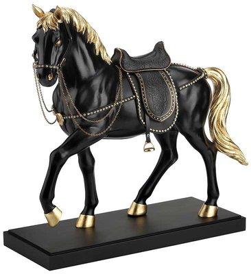 點點蘑菇屋 歐洲精品亮黑貼金箔駿馬擺飾 精緻古典藝術雕塑 皮革馬鞍 動物擺飾 禮品 現貨 免運費
