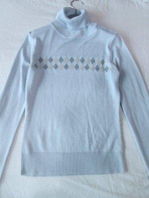 專櫃THEME淺藍色格紋DIFFA TOP-DO MASTINA款高領針織上衣34號