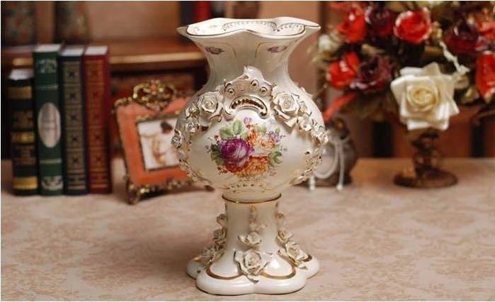 粉紅玫瑰精品屋~歐式陶瓷花瓶  高檔象牙瓷時尚家擺件~