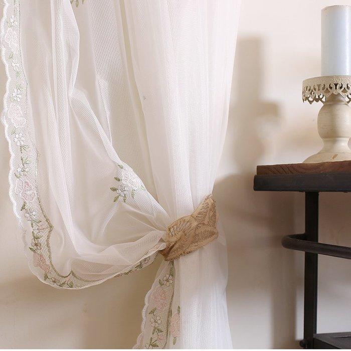美式鄉村英式田園玫瑰蕾絲紗簾 窗簾 窗紗床幔背景紗櫥窗紗簾 隔斷簾