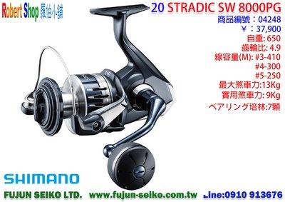 【羅伯小舖】SHIMANO捲線器 2020 STRADIC SW 8000PG