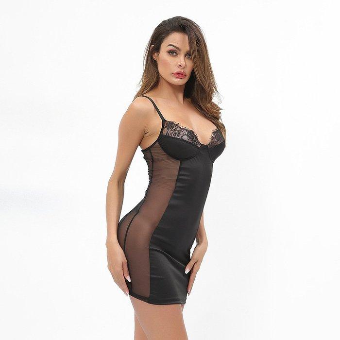 新款情趣內衣 透明薄紗性感蕾絲拼接連身裙洋裝睡裙 6282