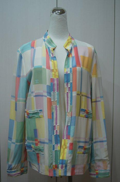 Chanel 香奈兒  米白色彩格飾口袋長袖絲上衣     特價  32000