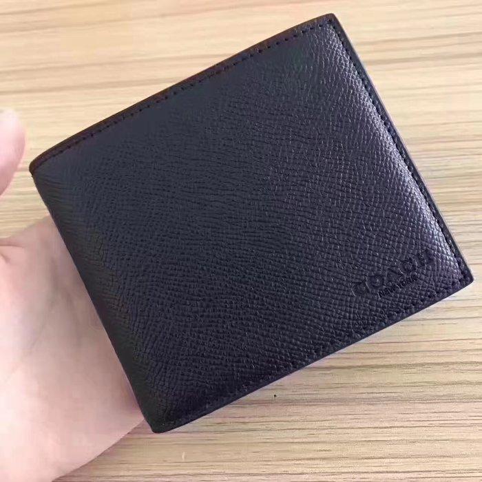 【小怡代購】 全新COACH 74974 美國正品代購新款男士真皮短款素色短夾錢包 特惠現貨