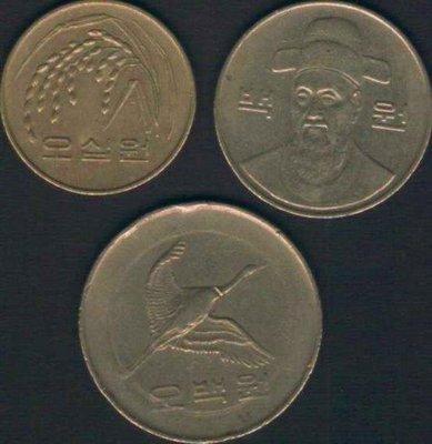 [亞瑟小鋪]外幣 韓元500元/100元/50元3枚VF(1983~1992年)