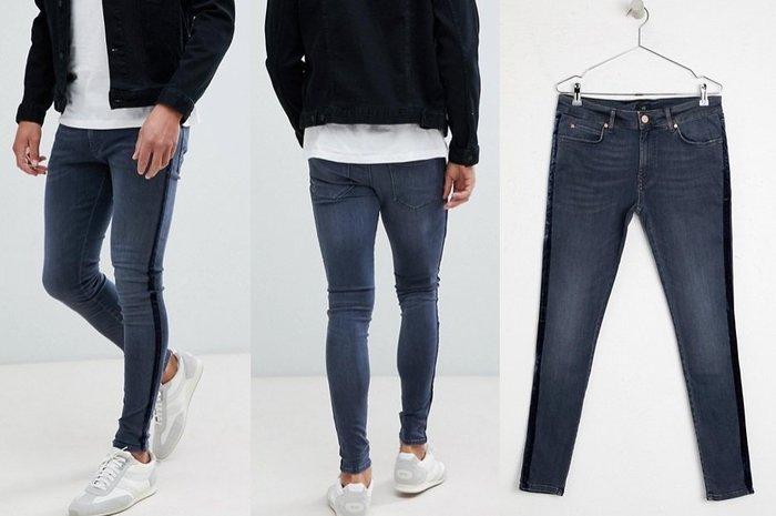 ◎美國代買◎ASOS代買深藍色條紋裝飾偏深藍刷色英倫運動時尚街風條紋線條合身牛仔褲~大尺碼