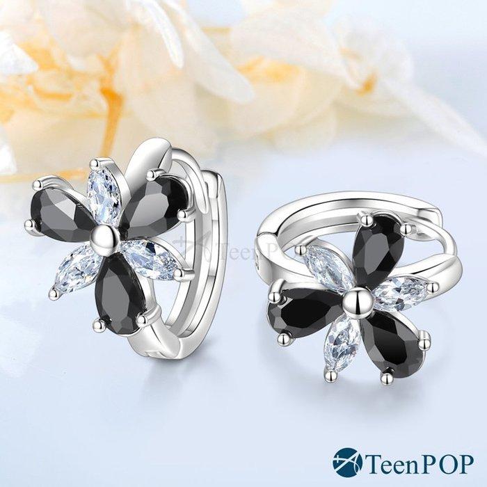 耳環 ATeenPOP 白K 圈式耳環 純真時代 花耳環 易扣 AG7016