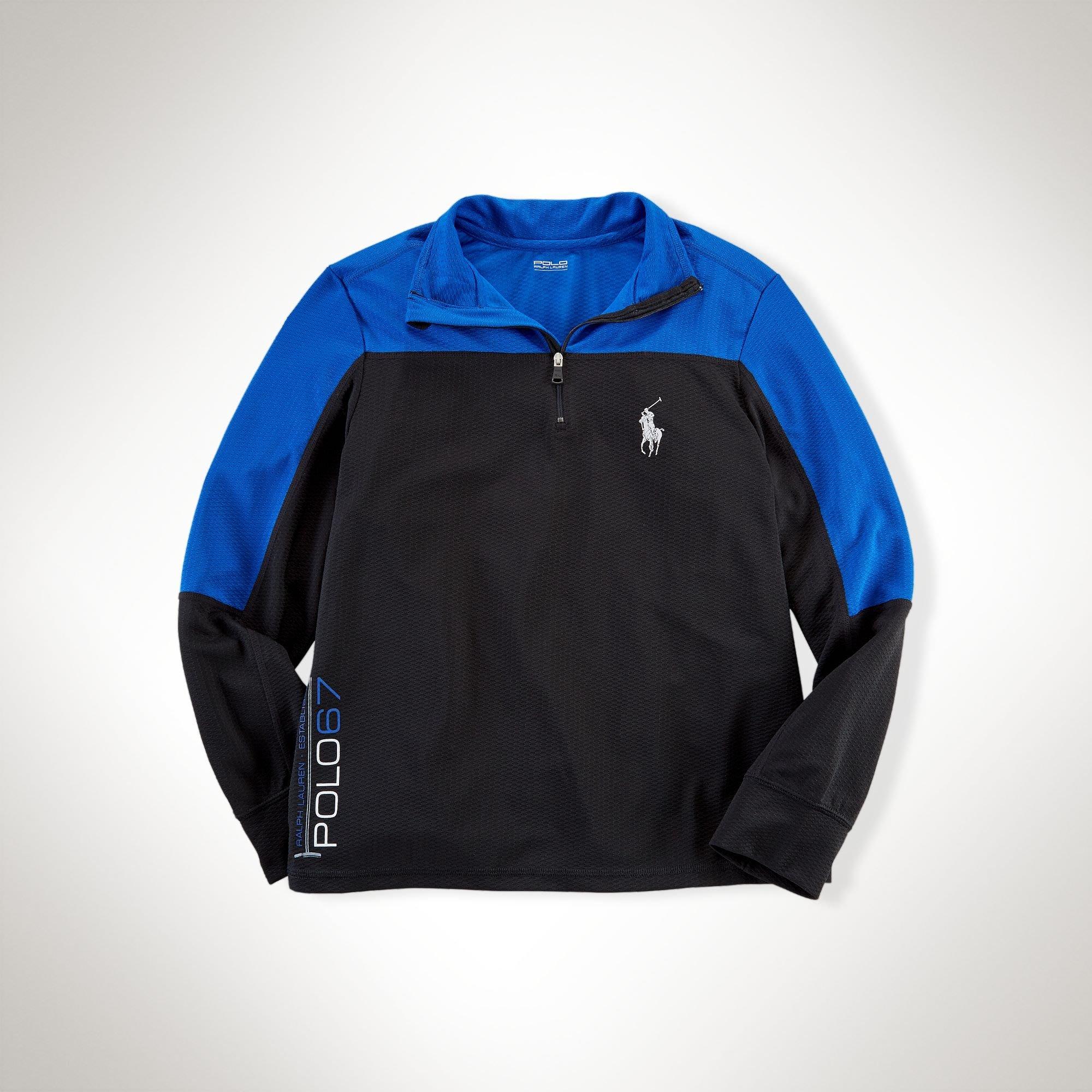 二手美國 Polo Ralph Lauren 藍黑色拉鍊高領大馬運動上衣 大童M