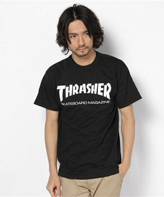 【THRASHER】Skate Mag 純棉圓筒Tee (黑底白字)