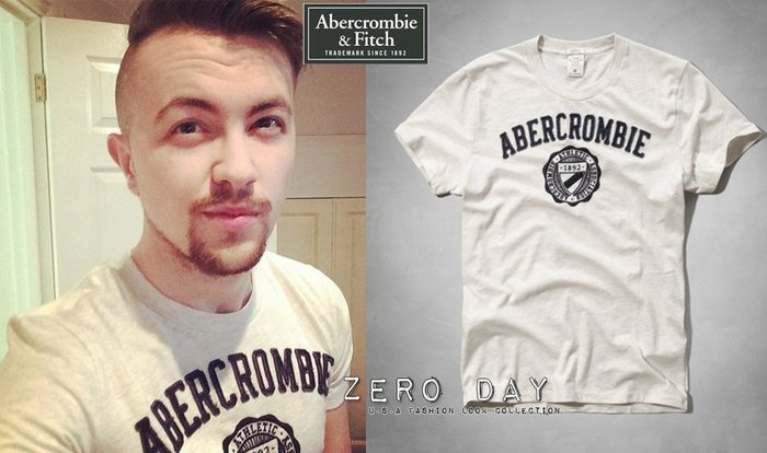 【零時差美國時尚網】A&F Abercrombie&Fitch Collegiate Graphic Tee徽章短T米白