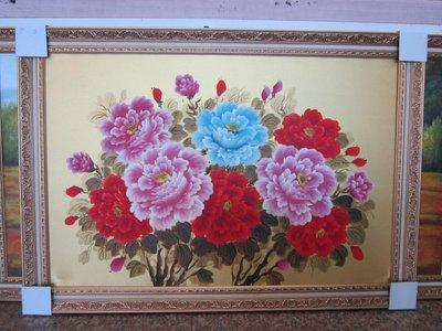 『府城畫廊-手繪油畫』牡丹花-花開富貴-筆法細膩-72x102-(含框價,可換框)-有實體店面-請查看關於我聯繫-