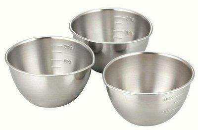 日本製 不銹鋼 烹飪 刻度 料理碗 一組3入(現貨)