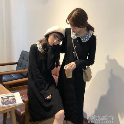 春季洋裝 季女裝減齡氣質蕾絲娃娃領針織連身裙高腰顯瘦打底中長裙『全館免運』