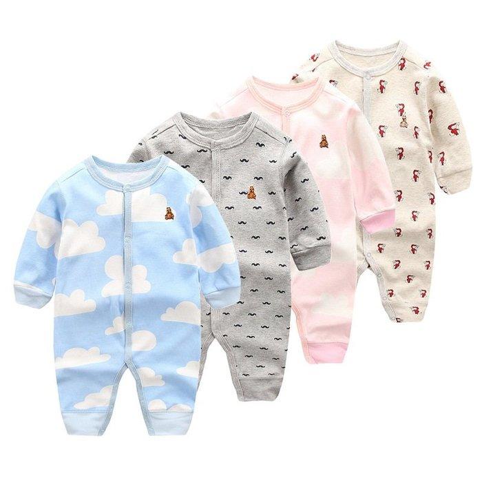 現貨 嬰幼全棉鈕扣刺繡動物長袖連身爬服