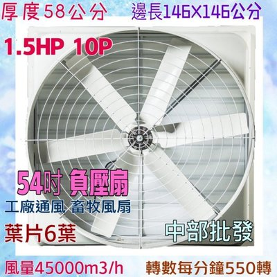 「工廠直營」負壓扇 54吋 六葉直結式風機 抽送風通風 排風機 廠房散熱風扇 工廠通風 畜牧風扇 抽送 台中市