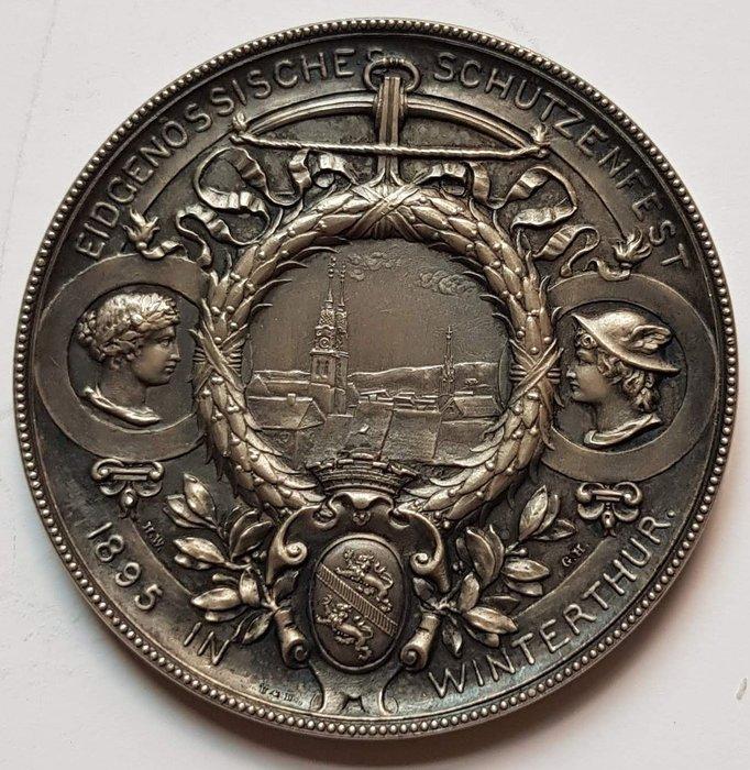 瑞士銀章 1895 Swiss Eidg. Winterthur Shooting Medal.