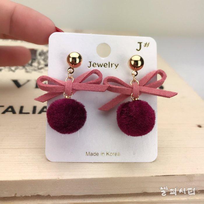 現貨【韓Lin連線代購】韓國 正韓蝴蝶結小圓球耳環 2色