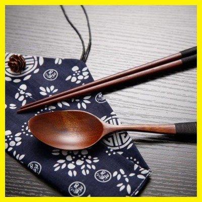 哆啦本鋪 旅行便攜朋友家用北歐方便套裝公木制筷子勺子旅行裝筷子套餐 D655