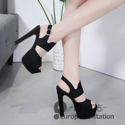 魚口涼鞋/夏天新款14cm超高跟歐美風后空粗跟防水台顯瘦女
