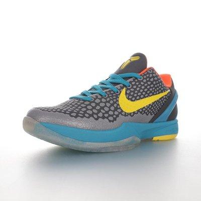 """男鞋耐吉NikeZOOMKobeVI""""Helicopter""""ZK科比六代低幫運動籃球鞋""""灰黑藍黃"""""""