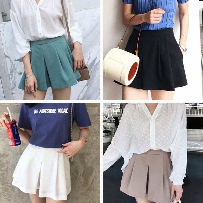 ACHIC┼精品時裝 長腿小姐姐A-line高腰西裝短褲裙basic item百搭~白,黑,tiffany綠,卡其