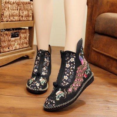 布鞋 春季新款原創復古超輕PU底前拉鏈拼色民族風繡花布鞋子 mc5177
