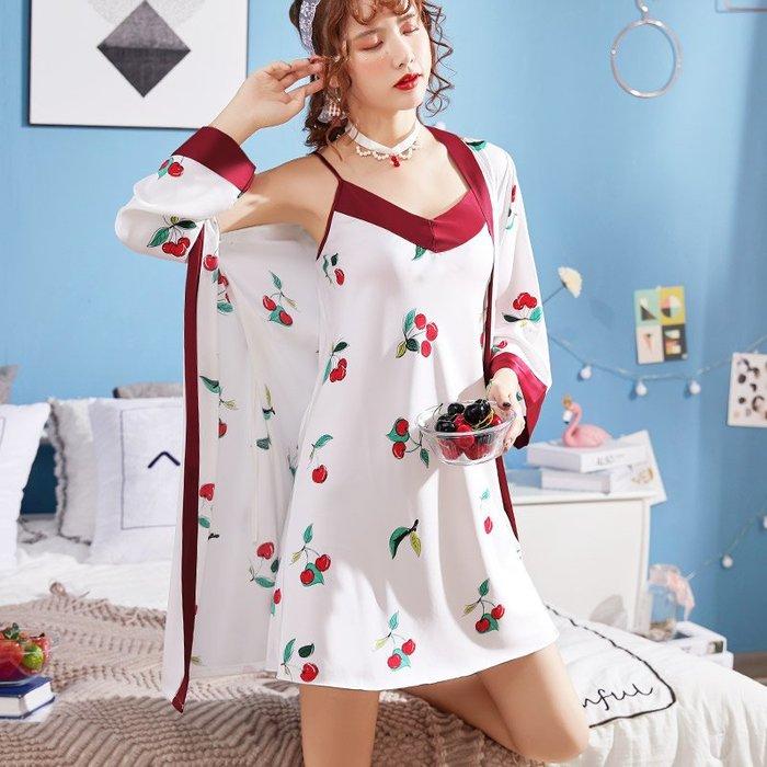 性感睡衣女士春夏季兩件套裝冰絲仿真絲睡裙吊帶V領2019新款薄款-青木居家
