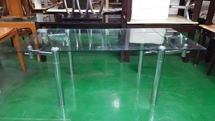 二手家具 台中 宏品全新中古傢俱 BN011920*全新伸縮玻璃餐桌*庫存2手桌椅拍賣 電腦桌 辦公桌 會議桌 業務桌