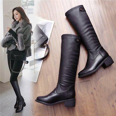 ~Linda~秋冬季新款中跟加絨長靴 高筒騎士靴 粗跟瘦腿女靴 黑色長筒靴子